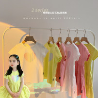 T-shirt T-shirt - bright yellow, t-shirt - cream, t-shirt - pink, dress - bright yellow, dress - cream, dress - pink Amybaby 80cm, 90cm, 100cm, 120cm, 130cm, 150cm, 110cm (Baoer photo code), 140cm (Amy life code) female summer Short sleeve Crew neck leisure time There are models in the real shooting
