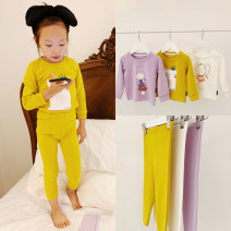 Home suit Amybaby 6-12 months, 1-2 years old, 2-3 years old, 3-4 years old, 4-5 years old, Amy photo / life code, 5-6 years old, 6-7 years old, 7-8 years old White, purple, turmeric spring and autumn female Cotton 100% cotton other Cartoon home clothes