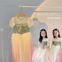 Dress The sky is blue female Amybaby 80cm, 90cm, 100cm, 120cm, 130cm, 150cm, 110cm (Baoer photo code), 140cm (Amy life code) Other 100% summer princess Skirt / vest other Vest skirt Embroidered gradient sparkle dress other
