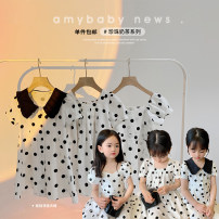 Dress Small V-neck dress, bubble sleeve dress, baby collar dress female Amybaby 80cm, 90cm, 100cm, 120cm, 130cm, 150cm, 110cm (Baoer photo code), 140cm (Amy life code) Other 100% summer princess Short sleeve Solid color other Princess Dress Black dot series other