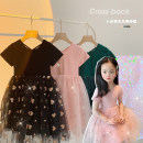 Dress Dark green, pink, classic black female Amybaby 80cm, 90cm, 100cm, 120cm, 130cm, 150cm, 110cm (Baoer photo code), 140cm (Amy life code) Other 100% summer princess Short sleeve heart-shaped other Princess Dress Back cross heavy mesh skirt other