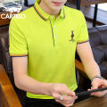 T-shirt Youth fashion White, light green, yellow, black, gray, red, fluorescent green, pink, navy routine M,L,XL,2XL,3XL,4XL Cartelo / Cartelo crocodile Short sleeve Lapel easy Other leisure summer Cotton 95% polyurethane elastic fiber (spandex) 5% youth routine tide Cotton wool 2020 Solid color