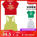 T-shirt S M L Summer 2015 Short sleeve Crew neck Two piece set Regular routine street cotton 96% and above 18-24 years old youth letter MinneRita Cotton 100% Sports & Leisure