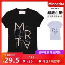 T-shirt (cs32011) black (cs32011) white S M L Spring 2014 Short sleeve Crew neck Self cultivation Regular routine cotton 96% and above MinneRita CS32011 Cotton 100%