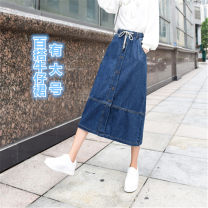skirt Autumn 2020 26, 27, 28, 29, 30, 31, 32, 33, 34, 36, 38, 40 blue Mid length dress Versatile Natural waist Splicing style Solid color Type A 25-29 years old j-326 81% (inclusive) - 90% (inclusive) Denim cotton Button
