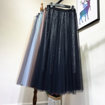 skirt Autumn 2020 Average size Blue, black, gray, apricot, coffee Mid length dress commute High waist A-line skirt Solid color Type A 25-29 years old 71% (inclusive) - 80% (inclusive) other other Sequins, gauze Korean version