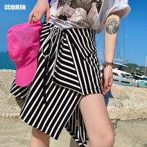 skirt Spring 2021 Middle-skirt Natural waist Irregular stripe 25-29 years old 91% (inclusive) - 95% (inclusive) Ccqueen cotton 9.92% spandex