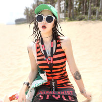 Vest sling Summer of 2019 Orange and black stripes 160/84A/S 165/88A/M 170/92A/L 175/96A/XL singleton  routine Self cultivation I-shaped stripe 25-29 years old 71% (inclusive) - 80% (inclusive) cotton PTS128 Ccqueen Cotton 75.7% polyester 18.1% polyurethane elastane 6.2% Pure e-commerce (online only)