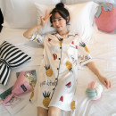 Nightdress Biography of Yi Ku Shirt skirt love pineapple white shirt skirt strawberry pink shirt skirt 2033 peach heart M L XL XXL Simplicity Short sleeve Leisure home Middle-skirt summer Plants and flowers youth square neck Polyester (polyester) printing More than 95% Summer of 2019