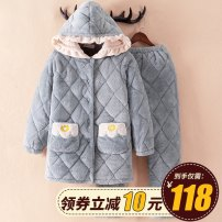 Pajamas / housewear set female Biography of Yi Ku Polyester (polyester) Long sleeves pajamas winter thickening Small lapel Solid color trousers Front buckle youth 2 pieces rubber string More than 95% Coral wool with cotton printing Above 400g Polyester 100% Winter of 2018 Polyester 100% yes