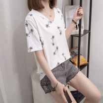Women's large Summer 2021 White, pink L [recommended 90-120 Jin], XL [120-140 Jin], 2XL [140-160 Jin recommended], 3XL [160-180 Jin recommended], 4XL [180-200 Jin recommended] T-shirt singleton  commute easy moderate Socket Short sleeve Three dimensional cutting routine Other / other 25-29 years old