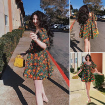 Dress Spring 2021 Red, green and yellow flowers XS,S,M,L TRAF