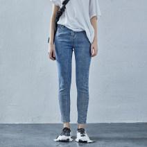 Jeans Summer 2020 Rain blue spot, Songnan black spot S M 1L 1XL trousers Natural waist Pencil pants routine 25-29 years old light colour 20X6095K The sun is shining 91% (inclusive) - 95% (inclusive) Cotton 91.3% polyester 7.6% polyurethane elastic fiber (spandex) 1.1% Pure e-commerce (online only)