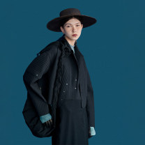 short coat Spring 2021 S M L XL The starry sky is black Long sleeves have cash less than that is registered in the accounts routine singleton  Straight cylinder routine tailored collar Three buttons other 25-29 years old The sun is shining 96% and above nylon cotton Polyamide fiber (nylon) 100%