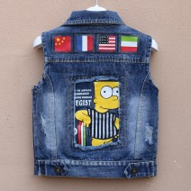 Vest neutral Other / other spring and autumn Thin money No model Single breasted Denim Cartoon animation Cotton 96.5% others 3.5% other 12 months, 18 months, 2 years old, 3 years old, 4 years old, 5 years old, 6 years old, 7 years old, 8 years old