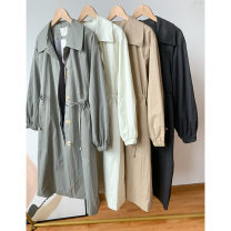 Windbreaker Spring 2021 Average size Khaki, grey, white, black Long sleeves routine have more cash than can be accounted for commute Single breasted tailored collar routine Solid color Self cultivation Korean version Other / other FG514305 18-24 years old 30% and below other