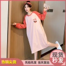 Nightdress Other / other Red sleeves Average size Sweet Long sleeves pajamas longuette spring youth Crew neck cotton printing Knitted cotton fabric 7065-A8-V