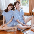 Pajamas / housewear set lovers Pinkdackeb / pecadek cotton Short sleeve Sweet pajamas summer Thin money Small lapel Solid color shorts Socket youth 2 pieces rubber string 81% (inclusive) - 95% (inclusive) Knitted cotton fabric printing 200g and below Short skirt