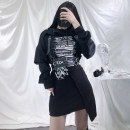 Dress Spring 2021 Horse head, graffiti, belt, sweater S,M,L Mid length dress singleton  Long sleeves street Crew neck High waist letter Socket Irregular skirt routine Others 18-24 years old Type X Other / other Stitching, printing other Europe and America