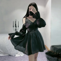 Dress Spring 2021 black S,M,L Short skirt singleton  Long sleeves commute V-neck High waist Solid color Socket Ruffle Skirt bishop sleeve camisole 18-24 years old Type X court Button G19090402