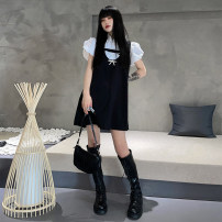 Dress Summer 2021 shirt , Dress [send Bow Pin] S,M,L Short skirt singleton  Sleeveless street Loose waist Solid color Socket A-line skirt straps 18-24 years old Type A