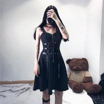 Dress Summer 2021 black S,M,L Middle-skirt singleton  Sleeveless street High waist Solid color zipper A-line skirt straps 18-24 years old Type A Punk