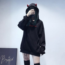 Sweater / sweater Spring 2021 Black (without velvet version), black (with velvet version) S,M,L Long sleeves Medium length Socket singleton  Plush Hood easy street letter 18-24 years old G19010401 Embroidery, three-dimensional decoration, flocking Punk