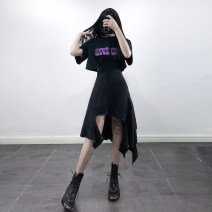 skirt Spring 2021 S,M,L black Mid length dress street High waist Irregular Solid color Type A 18-24 years old Splicing Punk