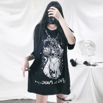 T-shirt black S,M,L Summer 2021 elbow sleeve Crew neck easy Medium length routine street other 86% (inclusive) -95% (inclusive) 18-24 years old originality Cartoon, character Punk