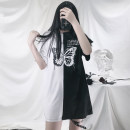 T-shirt Black top, single leg ring S,M,L Summer 2021 Short sleeve Crew neck easy Medium length routine street other 86% (inclusive) -95% (inclusive) 18-24 years old originality Animal design printing Europe and America