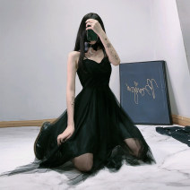 Dress Summer 2021 black S,M,L Middle-skirt singleton  Sleeveless street V-neck High waist Solid color Big swing other camisole 18-24 years old Type A G19071501 71% (inclusive) - 80% (inclusive) other polyester fiber Punk