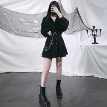 Dress Spring 2021 black S,M,L Short skirt singleton  Long sleeves street V-neck High waist Solid color other A-line skirt routine Others 18-24 years old Type A Hollow out, bandage Europe and America
