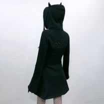 Sweater / sweater Spring 2021 black S,M,L Long sleeves Medium length Cardigan singleton  routine Hood easy street routine letter 18-24 years old G19121104 Embroidery, three-dimensional decoration, zipper zipper Punk