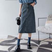 skirt Autumn 2020 XS,S,M,L,XL blue Mid length dress street High waist Solid color 25-29 years old Zero rules Europe and America