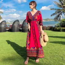 Dress Summer of 2019 S,M,L,XL,2XL longuette singleton  elbow sleeve commute V-neck High waist Abstract pattern Socket A-line skirt Bat sleeve Others 25-29 years old Type A Other / other ethnic style printing 51% (inclusive) - 70% (inclusive) Silk and satin polyester fiber