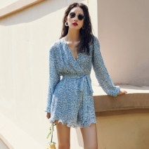 Dress Summer 2020 wathet S,M,L,XL Short skirt singleton  Long sleeves Sweet V-neck High waist Decor other other bishop sleeve Others 18-24 years old Type H Lace up, bandage, print 71% (inclusive) - 80% (inclusive) Chiffon other Bohemia