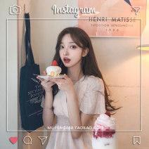 Women's large Summer of 2019 Apricot M [85-100 Jin], l [100-120 Jin], XL [120-140 Jin], 2XL [140-160 Jin], 3XL [160-180 Jin], 4XL [180-200 Jin] Dress singleton  commute easy Socket Short sleeve Solid color Korean version V-neck cotton Flying sleeve Other / other 18-24 years old Bandage longuette