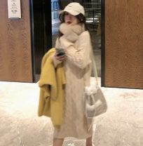 Dress Winter of 2019 Apricot, brown Average size Mid length dress singleton  Long sleeves commute Crew neck Loose waist Solid color Socket One pace skirt routine 18-24 years old Korean version Splice, threaded, asymmetric 51% (inclusive) - 70% (inclusive) knitting acrylic fibres