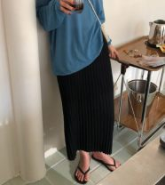skirt Autumn of 2019 Average size Black, apricot Mid length dress Versatile High waist skirt Solid color Type H 18-24 years old 51% (inclusive) - 70% (inclusive) knitting acrylic fibres