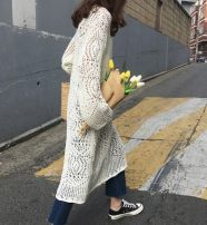 Dress Spring of 2019 White, black Average size Mid length dress singleton  Long sleeves Crew neck Loose waist Solid color Socket Big swing pagoda sleeve 18-24 years old Type H Gouhua, hollow out, splicing, thread, asymmetric 51% (inclusive) - 70% (inclusive) knitting acrylic fibres