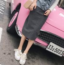 skirt Spring of 2019 S,M,L Black, gray Mid length dress Versatile High waist skirt Solid color Type H 18-24 years old Wool Pocket, asymmetrical