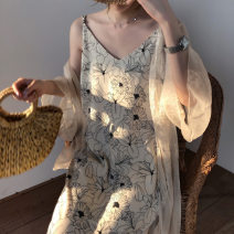 Lace / Chiffon Summer of 2019 White, black, apricot, caramel Average size Long sleeves Versatile Cardigan singleton  easy Medium length V-neck Solid color pagoda sleeve 18-24 years old Splice, threaded, asymmetric