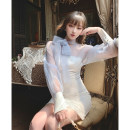 Dress Summer 2021 White, white second batch pre-sale S,M,L Mid length dress singleton  Long sleeves commute Crew neck High waist Solid color One pace skirt puff sleeve Type A Retro Bowknot, lace, stitching, mesh XL192486L