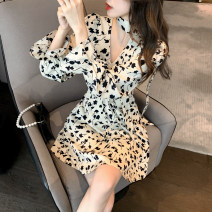 Dress Spring 2021 Apricot S,M,L Short skirt singleton  Long sleeves commute V-neck High waist Decor Socket A-line skirt puff sleeve Others 18-24 years old Type X Korean version Button Chiffon other