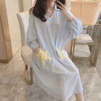 Nightdress Other / other 2702 stars are blue, 2702 stars are pink 160 (m), 165 (L), 170 (XL), [two sets less than five yuan], [pay attention to the shop, give small gifts] Cartoon Long sleeves Leisure home longuette autumn The Red Star youth Crew neck cotton Embroidery cotton