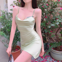 Dress Summer 2021 Mung bean S, M Short skirt singleton  commute High waist Solid color zipper One pace skirt Others 18-24 years old Type A Korean version Open back, zipper four point one four 81% (inclusive) - 90% (inclusive) other other