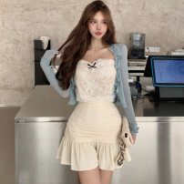 Fashion suit Summer 2021 S. M, average size Blue cardigan, lace sling, apricot skirt 18-25 years old four point one five 30% and below