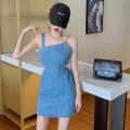 Dress Summer 2021 Light blue M, L Short skirt singleton  Sleeveless commute High waist Solid color Socket One pace skirt camisole 18-24 years old Type A Korean version Hollowing out four point one three