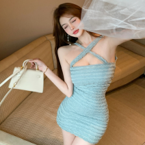 Dress Summer 2021 Sling, dress Average size Short skirt singleton  Sleeveless commute High waist Solid color One pace skirt camisole 18-24 years old Type A Korean version fold Four point three