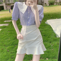 Fashion suit Summer 2021 S. M, average size Purple shirt, white skirt 18-25 years old Four point seven
